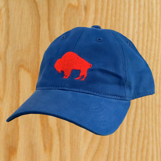 Royal Dad Hat with Red Embroidered Standing Buffalo-$25