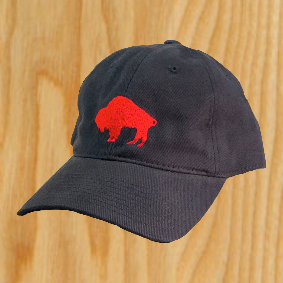 Navy Dad Hat with Red Embroidered Standing Buffalo-$25