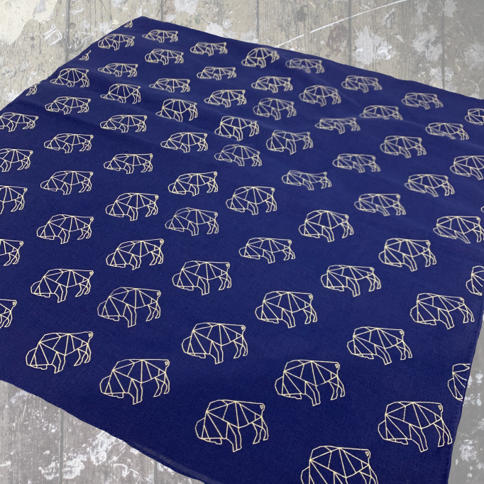 Buffalo Origami Bandana-Royal $9.00