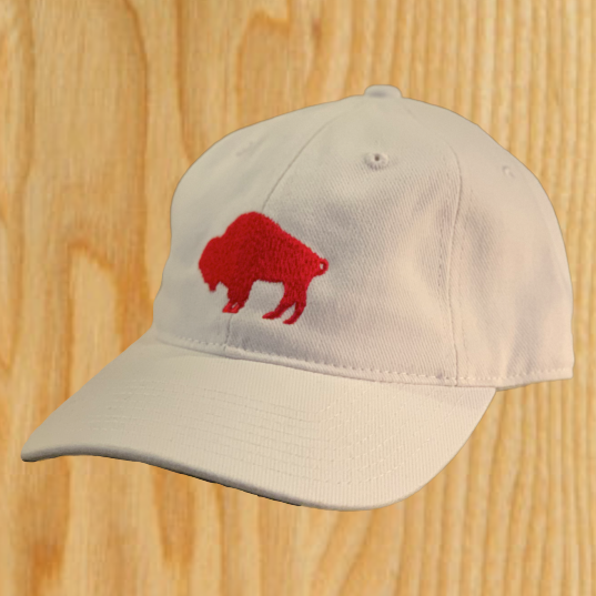 White Dad Hat with Red Embroidered Standing Buffalo-$25