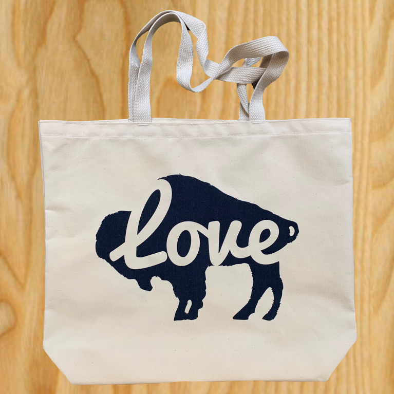 Pre-Printed Canvas Tote Buffalo Love Navy - $15.00